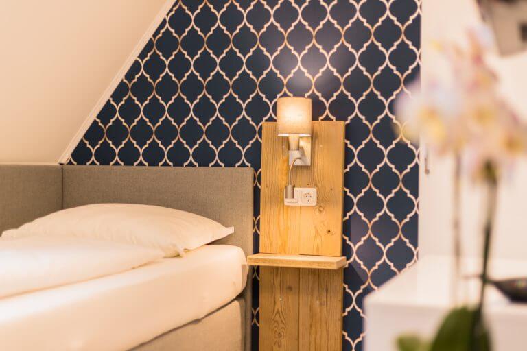 Blick auf das Bett in Ihrem Einzelzimmer in Sankt Peter Ording