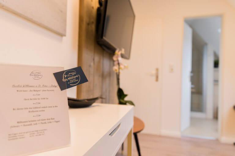 Willkommensschreiben in Ihrem Einzelzimmer in Sankt Peter Ording