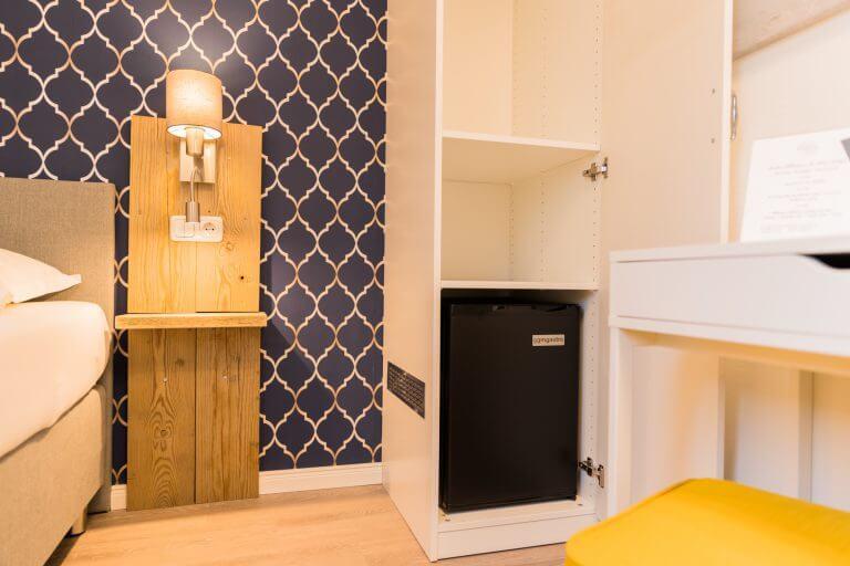 Ansicht des Kühlschrankes in unserem Einzelzimmer in Sankt Peter Ording